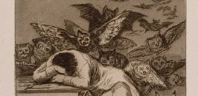 Francisco José de Goya y Lucientes, 'The Sleep of Reason Produces Monsters (El sueño de la razon produce monstruos), Los Caprichos', No. 43 (1796-97), etching and aquatint, Fifth Edition (1881-86), plate dimensions 21.3 x 15 cm. Daniel Gift, 1991 (Albury City Collection)