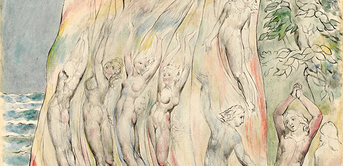 William BLAKE, Dante at the Moment of entering the Fire, illustration for The Divine Comedy by Dante Alighieri (Purgatorio XXVII, 46-48) 1824–27, pen and ink and watercolour over black chalk and pencil, with sponging and touches of gum, 52.6 x 36.8 cm. Felton Bequest, 1920.
