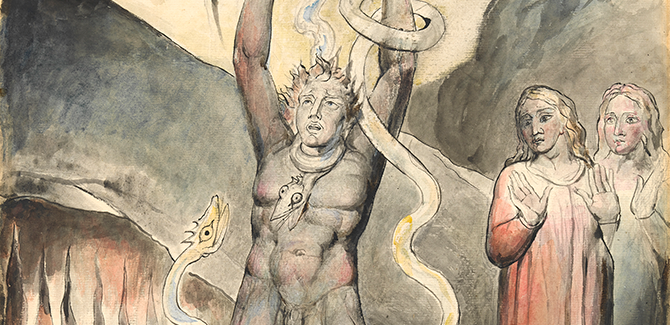 William Blake, Vanni Fucci 'making Figs' against God, illustration for The Divine Comedy by Dante Alighieri (Inferno XXV, 1-15) 1824–27, pen and ink and watercolour over pencil and traces of black chalk, with sponging, 52.7 x 37.2 cm. Felton Bequest, 1920. Courtesy of the National Gallery of Victoria, Melbourne.
