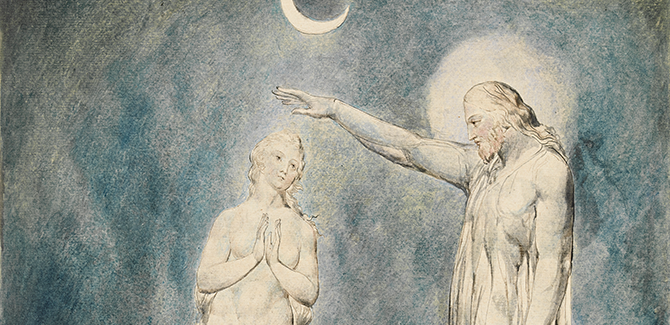 William Blake, The Creation of Eve, illustration for Paradise Lost by John Milton (VIII, 452-77) 1822, pen and brown and black ink and watercolour over pencil and black chalk, with stippling and sponging, 50.4 x 40.7 cm. Felton Bequest, 1920. Courtesy of the National Gallery of Victoria, Melbourne.