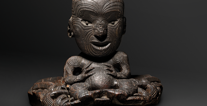 Warrior Chief Te Rauparaha, fixed in his canoe, Maori, Aotearoa New Zealand, southern Polynesia c 1835, wood, 43.5 x 50 x 32.5 cm. National Gallery of Australia, Canberra.