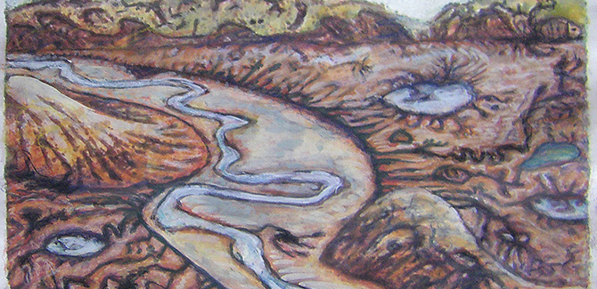 Ben Laycock, Big River Bend (detail) 2013, hand coloured etching, 15x20cm.