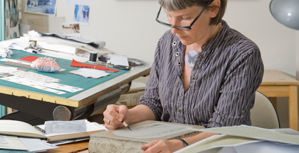 Catherine Pilgrim in her studio - image by Julie Millowick