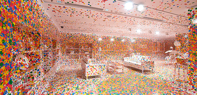 Yayoi KUSAMA (Japan b.1929), The obliteration room 2002 to present, furniture, white paint, dot stickers Collaboration between Yayoi Kusama and Queensland Art Gallery. Commissioned Queensland Art Gallery, Australia. Gift of the artist through the Queensland Art Gallery Foundation 2012. Collection: Queensland Art Gallery.