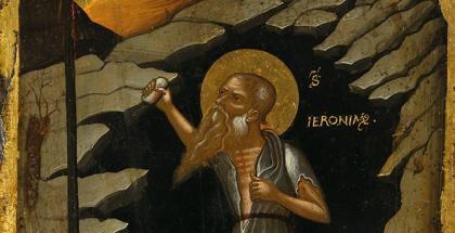 Crete, Circle of Nicholas Tzafouris, 'Saint Jerome' (c. 1490-1500), egg tempera, gold leaf and gesso on wood, 23.8 x 17.6 cm, (Private Collection, Sydney).