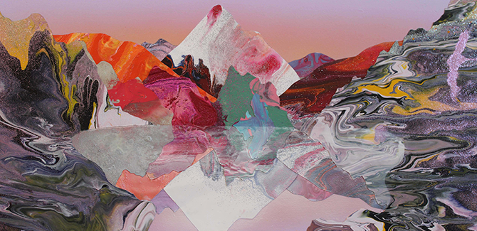 Kate Shaw, La-la Land (detail) 2013, acrylic and resin on board, 30 x 70cm. Image courtesy of the artist and Fehily Contemporary, Melbourne. Synthentica, Swan Hill Regional Art Gallery, Horseshoe Bend Swan Hill (VIC), 20 March – 3 May 2015