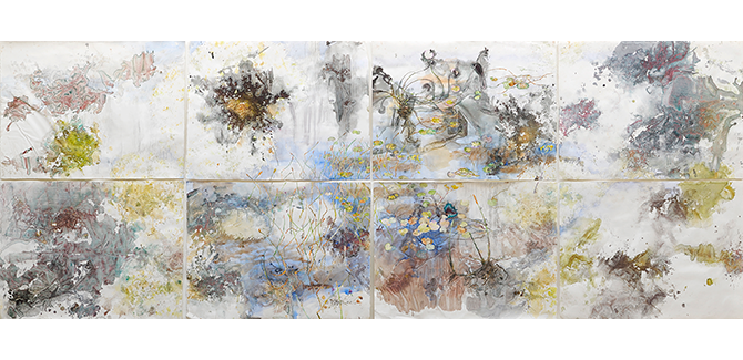 John WOLSELEY, Natural history of a sphagnum bog, Lake Ina, Tasmania 2013, watercolour, pencil, pen and ink, and sphagnum on 8 sheets, (a–h) (155.6 x 407.6 cm) (overall). Collection of Sir Roderick Carnegie AC and Family © John Wolseley. National Gallery of Victoria, The Ian Potter Centre: NGV Australia, Federation Square, Flinders St, Melbourne (VIC)