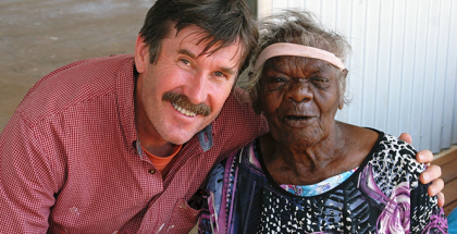 Ken McGregor (left) pictured with artist Nyurapayia Nampitjinpa (Mrs Bennett)