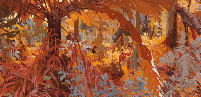 Mary Tonkin, Above the White Gums, Kalorama (detail) 2014, oil on linen, 54 x 447 cm.