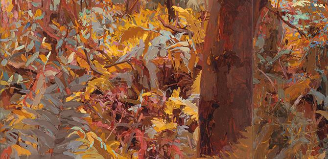 Mary Tonkin, Between Two Logs, Kalorama (detail) 2014, oil on linen, 54 x 387 cm.