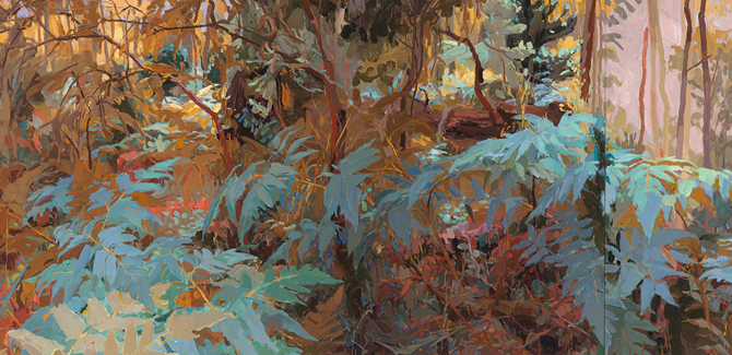 Mary Tonkin, Buffeted Above the White Gums, Kalorama (detail) 2014, oil on linen, 54 x 447 cm.
