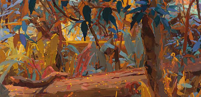 Mary Tonkin, Wattle Stars, Kalorama (detail) 2014, oil on linen, 54 x 64 cm.