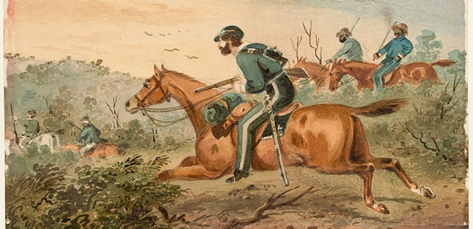 Troopers pursuing bushrangers (detail) 1871, watercolour, State Library Victoria.