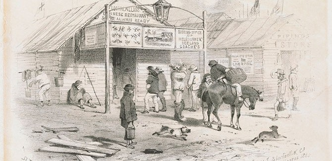 John Alloo's Chinese restaurant main road Ballaarat 1855, lithograph, State Library Victoria.