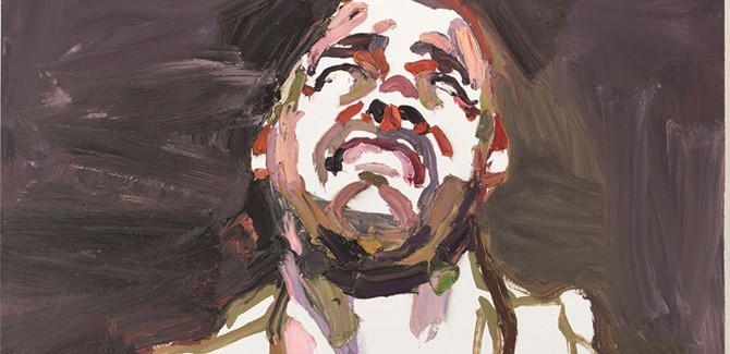 Ben Quilty, 'SOTG, after Afghanistan' painted in Robertson, New South Wales, 2011 oil on linen (diptych), overall 300 x 140 cm, top panel 190 x 140 cm, bottom panel 110 x 140 cm acquired under the official art scheme in 2012