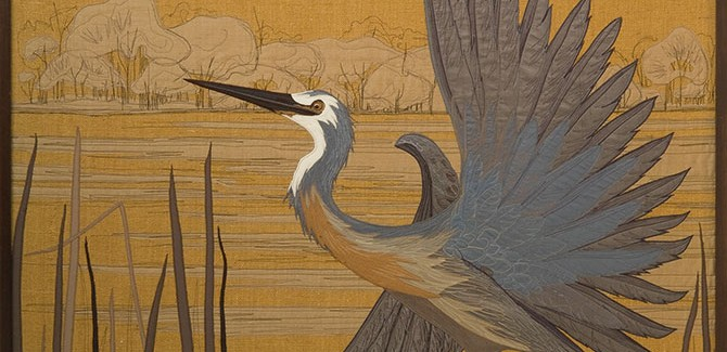 Annemieke Mein, White Faced Heron 1979, textile, 155 x 115cm. Collection Gippsland Art Gallery. The Craft Revolution, Gippsland Art Gallery, 64-66 Foster Street Sale (VIC), until 12 June