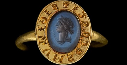 England, Signet ring; intaglio (1300-50), gold, nicolo engraved in intaglio with bust of Ceres; inscribed, 2.6 cm (diam.), 1.7 cm (bezel), (Bequeathed by Sir Augustus Wollaston Franks, 1897).