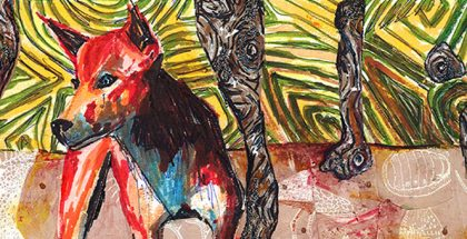 Peter Waples, Dingo in the Bush, 2016, mixed media on paper, 10 x 20cm. I never painted my dreams, I painted my reality, Kingston Arts Centre, 979 Nepean Hwy, Moorabbin (VIC), 2 – 27 September 2016
