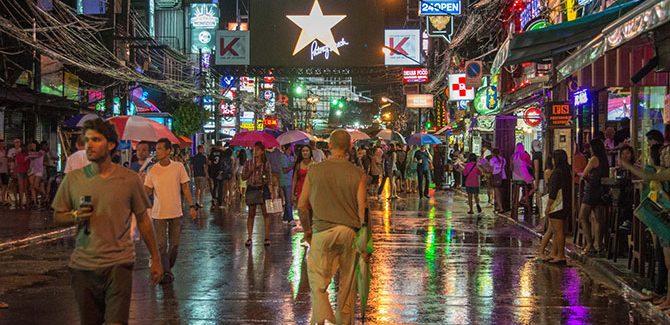 Patong street at night, photo by Rashad Pharaon.