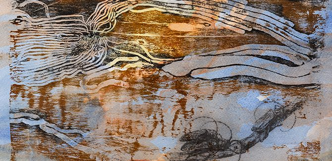 John Wolseley, Umwelt of the Grey Box Beetle (detail) 2015, relief print from found wood, chine-colle over watercolour on paper, edition of 40.