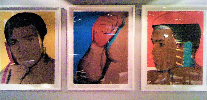 Andy Warhol screenprints, Muhammad Ali, various (detail) 1978. Installation image by Tony Cameron.