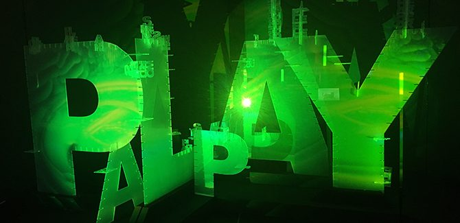 Betty Sargeant and Justin Dwyer with Floyd Mueller, The Playground, laser-cut acrylic and projection mapping, 3.5 x 2.1 x 1.9m. Ararat Regional Art Gallery, 101 Barkly Street, Ararat (VIC), 12-20 August 2017