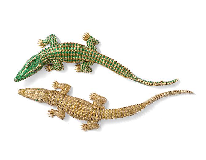 935b587b9c95 Cartier, Paris, 'Crocodile necklace' (1975), gold, 1,023 brilliant‑cut  fancy intense yellow diamonds (60.02 carats), 2 navette‑shaped emerald  cabochons, ...